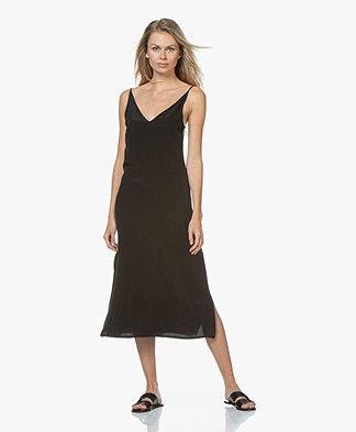 Denham Monica Cupro Blend Slip Dress - Black