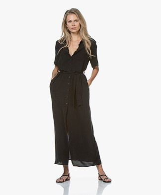 Denham Roxanne Cupro Blend Maxi Shirt Dress - Black