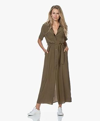 Denham Roxanne Cupro Blend Maxi Shirt Dress - Khaki