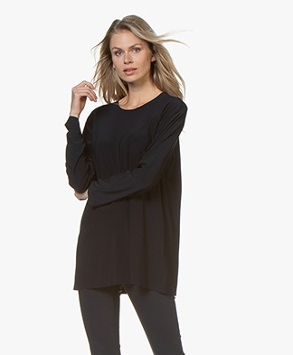 Norma Kamali Boyfriend Crew Long Sleeve - Midnight