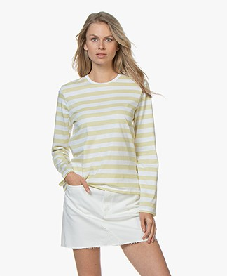 Filippa K Long Sleeve Striped T-shirt - Wax/White