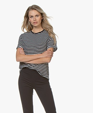 Filippa K Organic Cotton Striped T-shirt - Navy/White