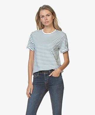 Filippa K Organic Cotton Striped T-shirt - River/White