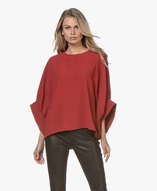 IRO Cachica Oversized Crepe Blouse- Red