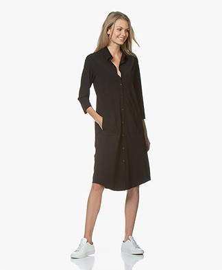 JapanTKY Zisa Travel Jersey Shirt Dress - Black