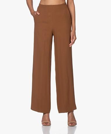 Pomandère Crepe Straight-leg Pants - Camel