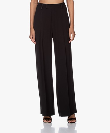 Filippa K Claudia Crepe Wide Leg Pants - Black