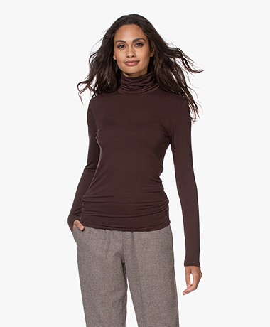 Majestic Filatures Amy Viscose Soft Touch Jersey Colshirt - Coffee