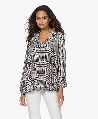 LaSalle Houndstooth Pleated Blouse - Moscow