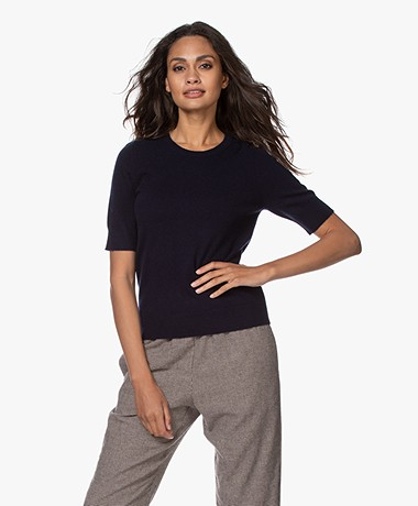 Repeat Short Sleeve Cashmere Pullover - Navy