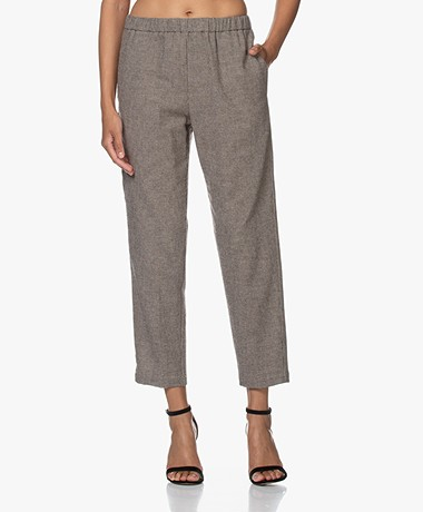 Pomandère Houndstooth Wool Blend Pants - Brown/Beige