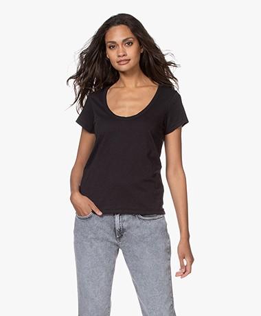 Rag & Bone Katoenen U-hals T-shirt - Zwart