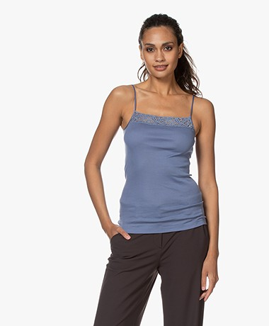 HANRO Moments Spaghetti Strap Top - Caribbean Blue