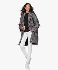 IRO Realize Oversized Bouclé Jas - Zwart/Wit
