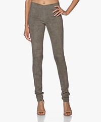 Joseph Legging in Stretch Suede - Olive Green