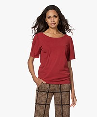 Plein Publique La Vie Modal Blend Butterfly Sleeve T-shirt - Red