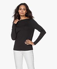 LaSalle Fine Knit Boat Neck Sweater - Black