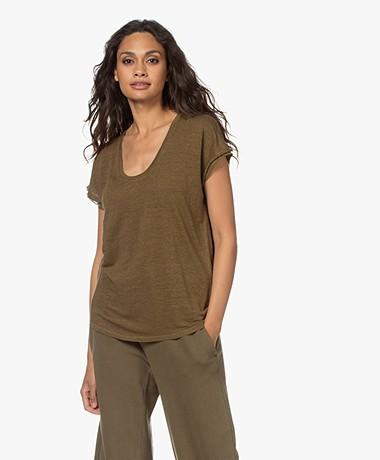 FRAME Easy Linnen U-hals T-shirt - Moss
