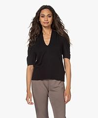 ba&sh Kendall V-hals T-shirt met Pofmouwen - Zwart