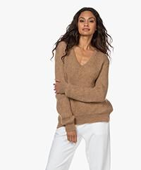 Sibin/Linnebjerg Britain Mohair Blend V-neck Sweater - Camel