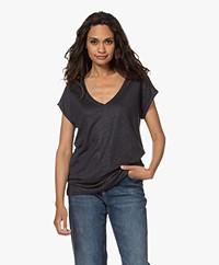 by-bar Mila Linnen V-hals T-shirt - Midnight