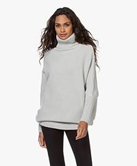 Sibin/Linnebjerg Hannover Merino Wool Blend Turtleneck Sweater - Light Grey Melange