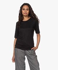 by-bar Maya Puur Linnen T-shirt - Zwart