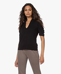 ba&sh Kendall V-neck T-shirt with Puffed Sleeves - Black