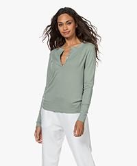 ba&sh Cristal Cotton-Modal Blend Henley Long Sleeve - Vert d'Eau