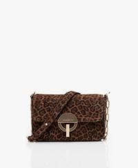 Vanessa Bruno Moon Suede Leopard Shoulder Bag - Fauve