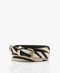 by-bar Julie Hairy Print Belt - Zebra