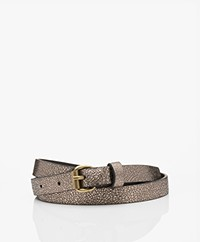 by-bar Metallic Craquelé Leren Riem - Biscuit