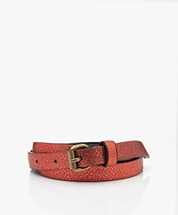 by-bar Metallic Craquelé Leren Riem - Salsa