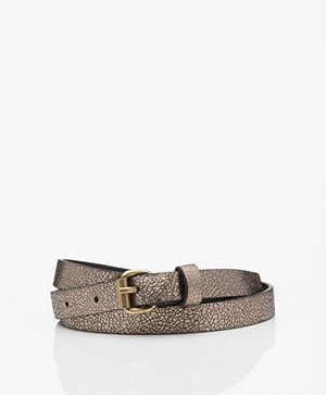 by-bar Metallic Crackle Leather Belt - Biscuit