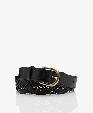 by-bar Braided Leather Belt - Black