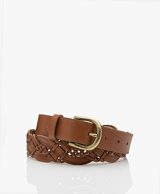 by-bar Braided Leather Belt - Cognac
