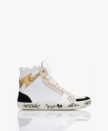 Zadig & Voltaire Used High-top Leather Sneakers - White