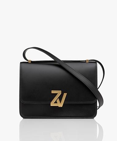 Zadig & Voltaire Initiale Leather Shoulder Bag - Black