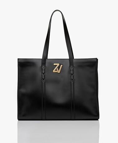 Zadig & Voltaire Initiale Leren Shopper - Zwart