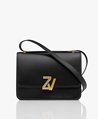 Zadig & Voltaire Initiale Leather Shoulder Bag - Black