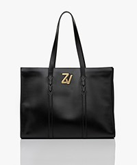 Zadig & Voltaire Initiale Leather Shopper - Black