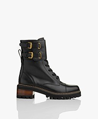 See by Chloé Mallory Leather Combat Boots - Black