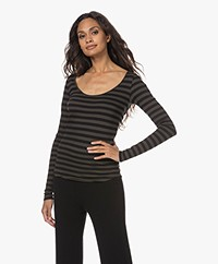 Majestic Filatures Cotton Deluxe Striped Long Sleeve - Deep Green