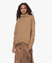 no man's land Wool and Cashmere Turtleneck Sweater - Camel