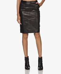 by-bar Knee-length Leather Skirt - Black