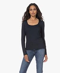 no man's land Viscose Long Sleeve T-shirt - Dark Sapphire