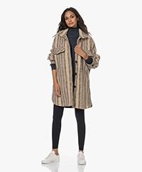 IRO Fedde Oversized Alpaca-mohair Mix Shirt Coat - Multicolored Ecru
