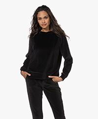 no man's land Stretch Velours Sweater - Zwart
