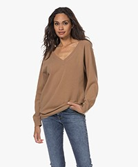 no man's land Merino wool and Cashmere V-neck Sweater - Camel