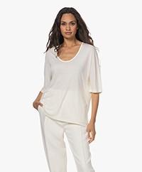 By Malene Birger Cevina Lyocell Rib Jersey T-shirt - Whisper White
